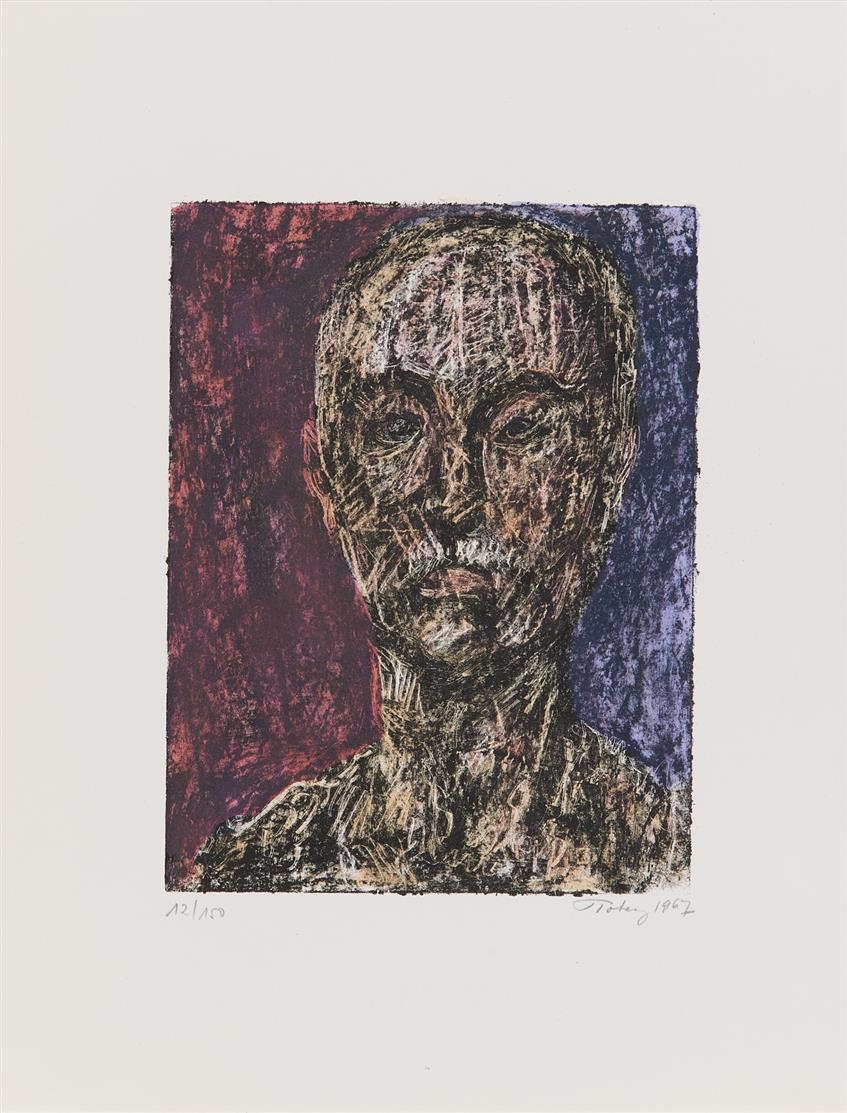 Mark Tobey. Self Portrait. 1967. Farblithographie. Signiert. Ex. 12/150. + Dazu: Henri Laurens. Aurélie. Radierung. Signiert. Ex. 4/50.