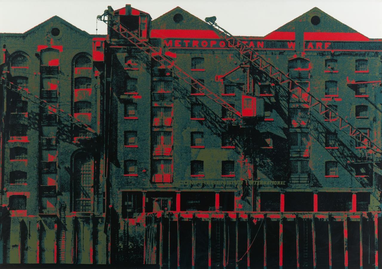 Gerd Winner. London Docks II, Metropolitan Wharf. 1971. Farbserigraphie. Signiert. Ex. 54/70.
