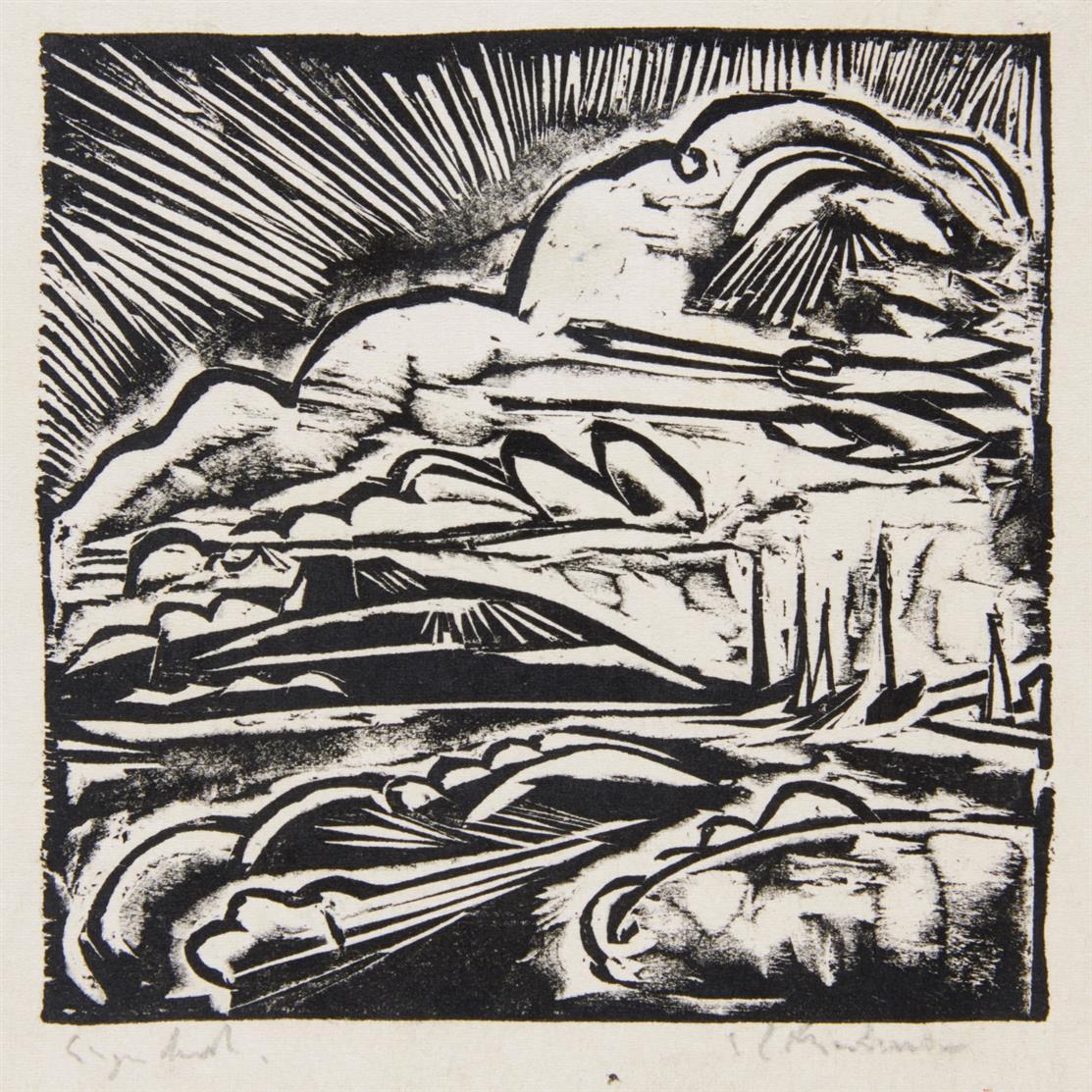 Ernst Ludwig Kirchner. Fehmarnsund. 1912. Holzschnitt. Dube 215 I (v. II).