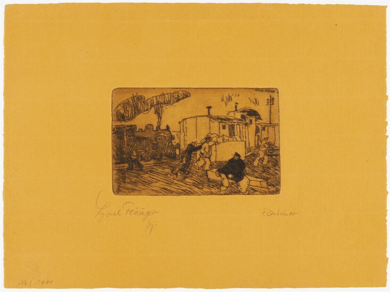 Lyonel Feininger. Eisenbahner. 1911. Radierung auf orangefarbenem Bütten. Signiert. Prasse E34.