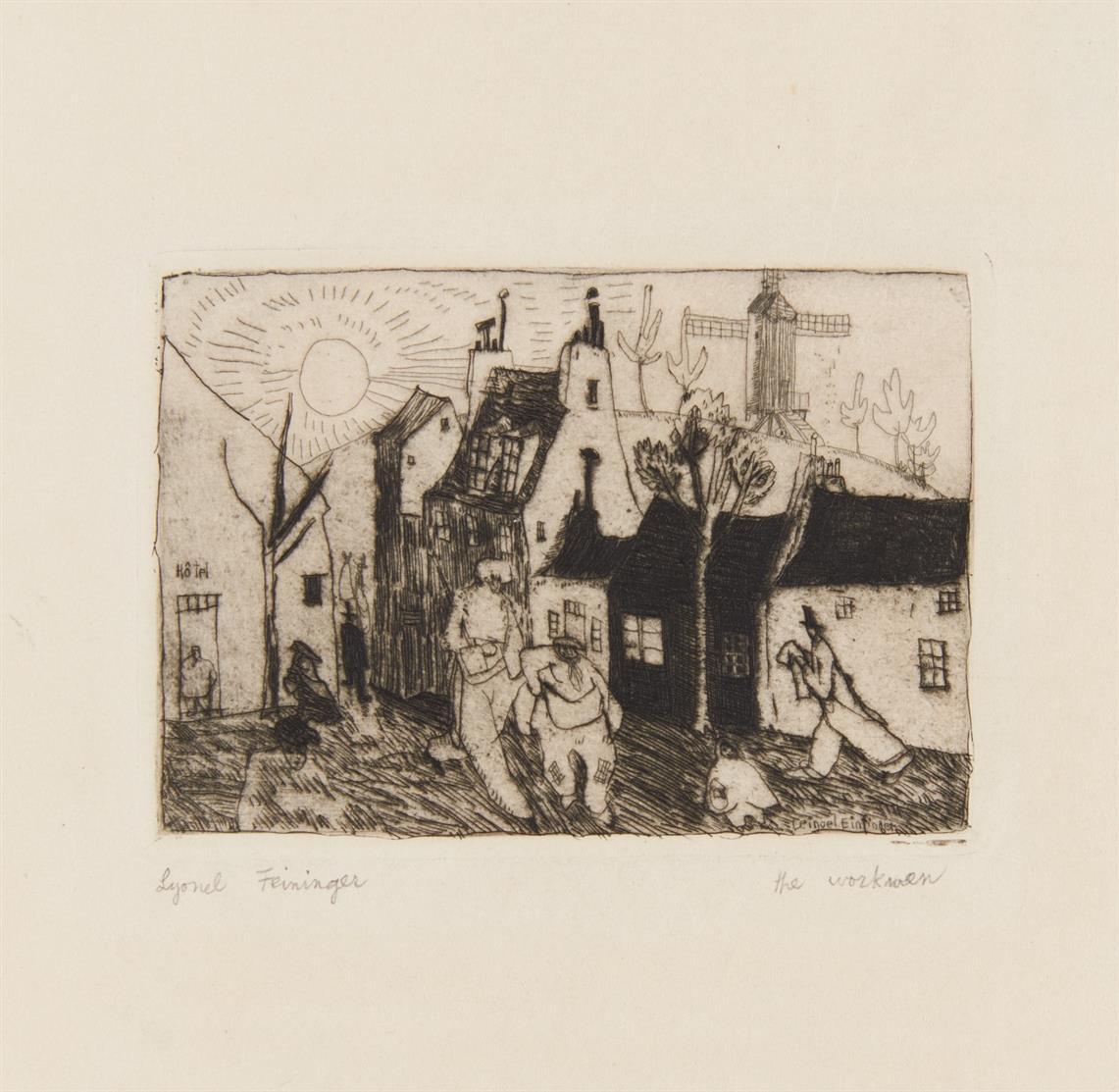 Lyonel Feininger. The workmen (Die Arbeiter). um 1910/11. Radierung und Kaltnadel. Prasse E20.