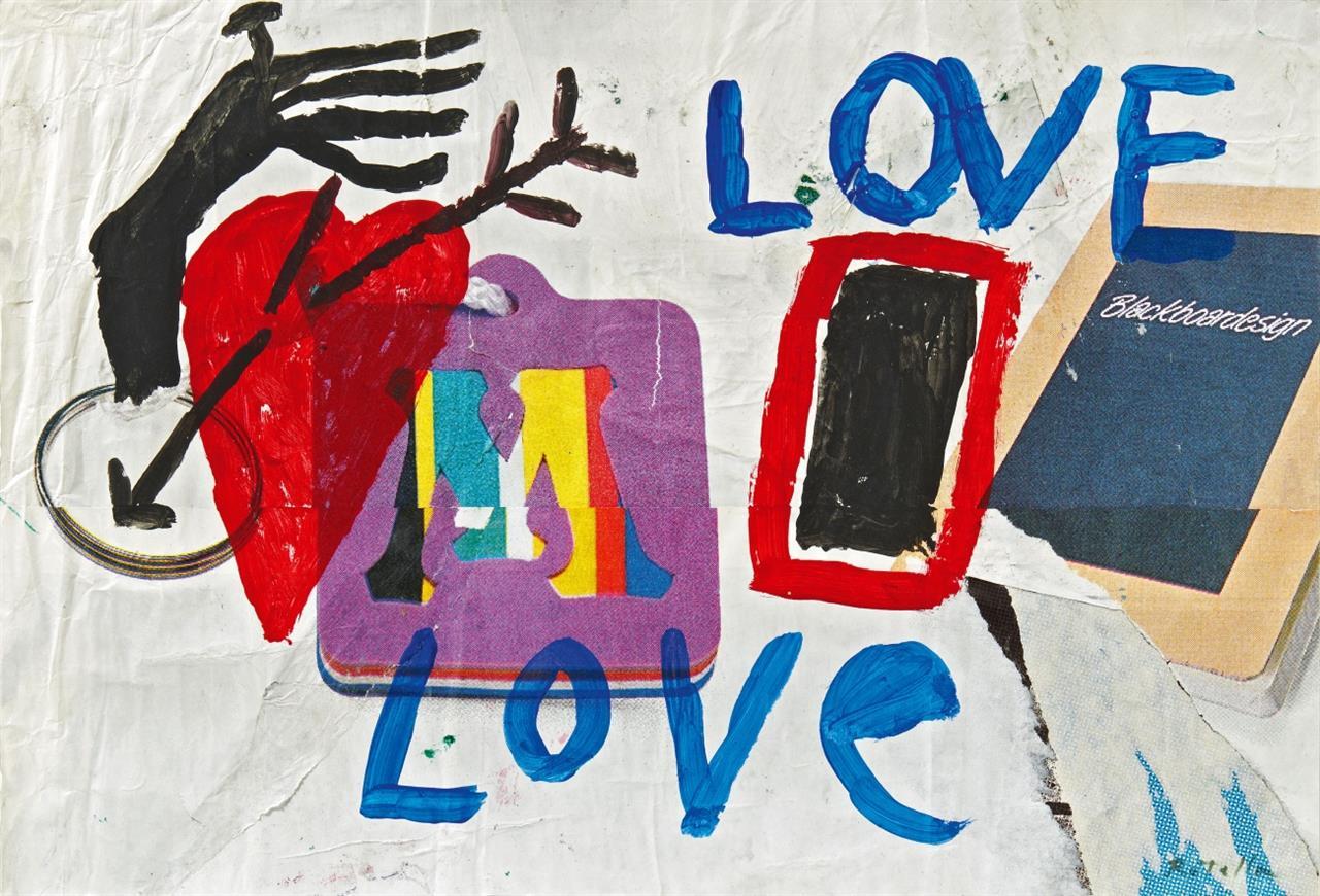 Mimmo Rotella. Ohne Titel (Love, Love). 1990. Gouache über Collage. Signiert.
