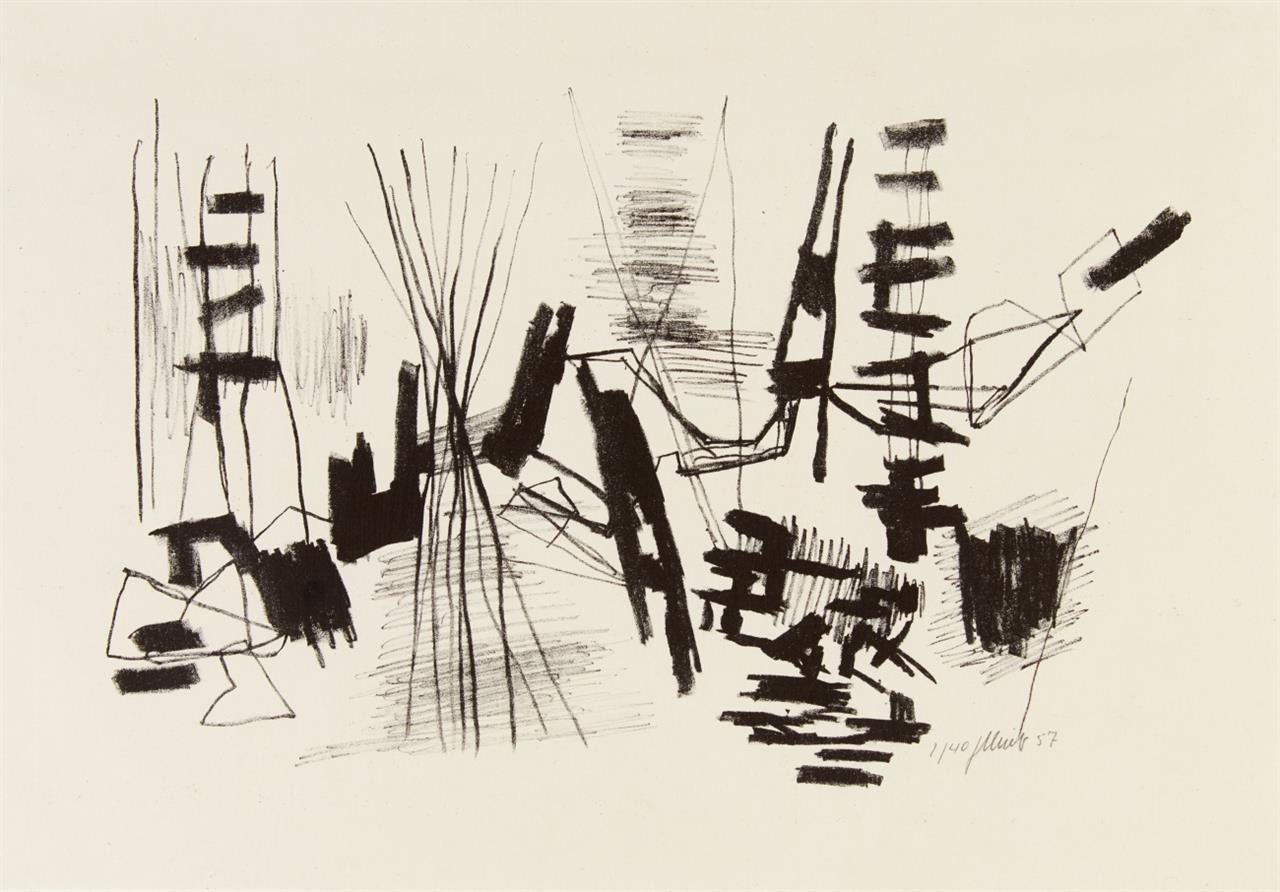 Fritz Winter. Litho 11. 1957. Lithographie. Signiert. Ex.2/40. Gabler 35.