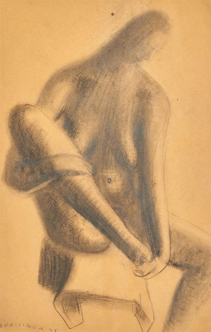 Bernhard Heiliger. Sitzender Akt. 1948. Bleistift. Signiert.