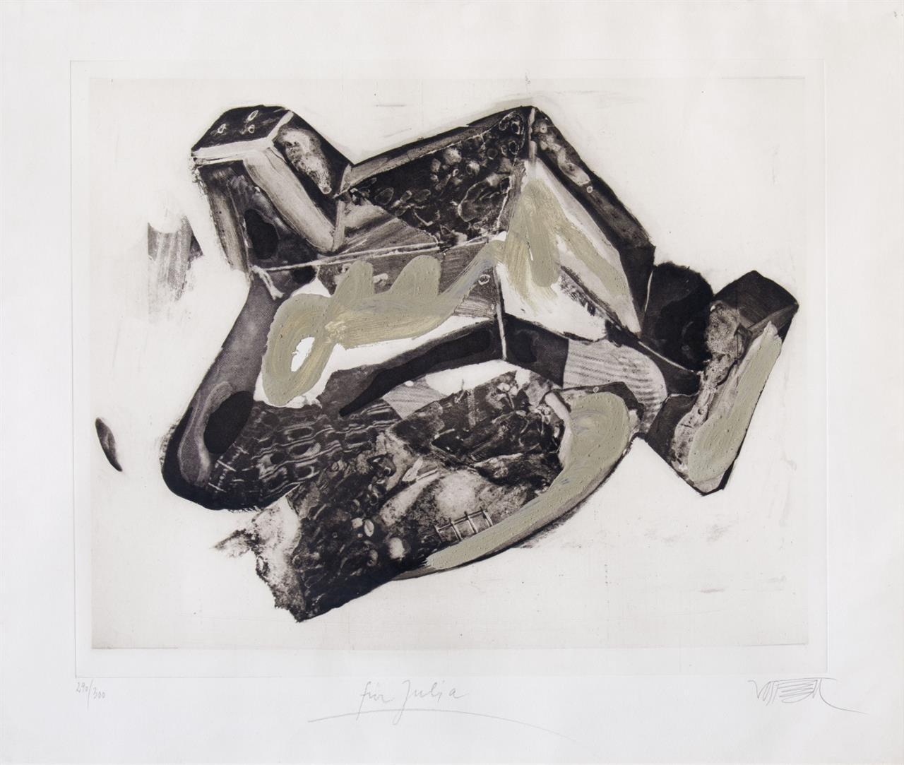 Wolf Vostell. Betonengel. (1987).  Heliogravure, Zement. Signiert. Ex. 290/300.