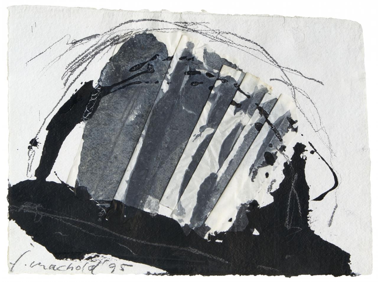 Jorge Machold. Ohne Titel. 1995. Collage, Tusche und Bleistift. Signiert.