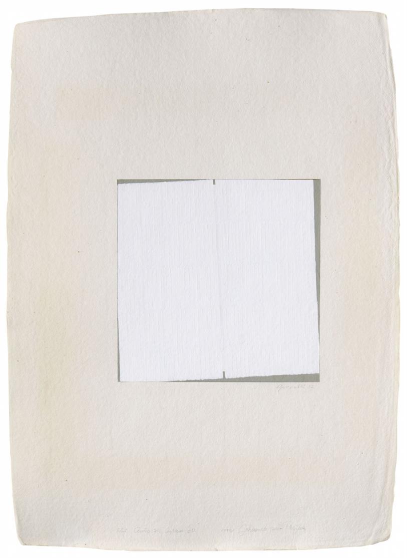 Johannes Geccelli. Ohne Titel. 1997. Deckfarbe auf Karton, in Büttenkarton montiert. Signiert u. m. Widmung.