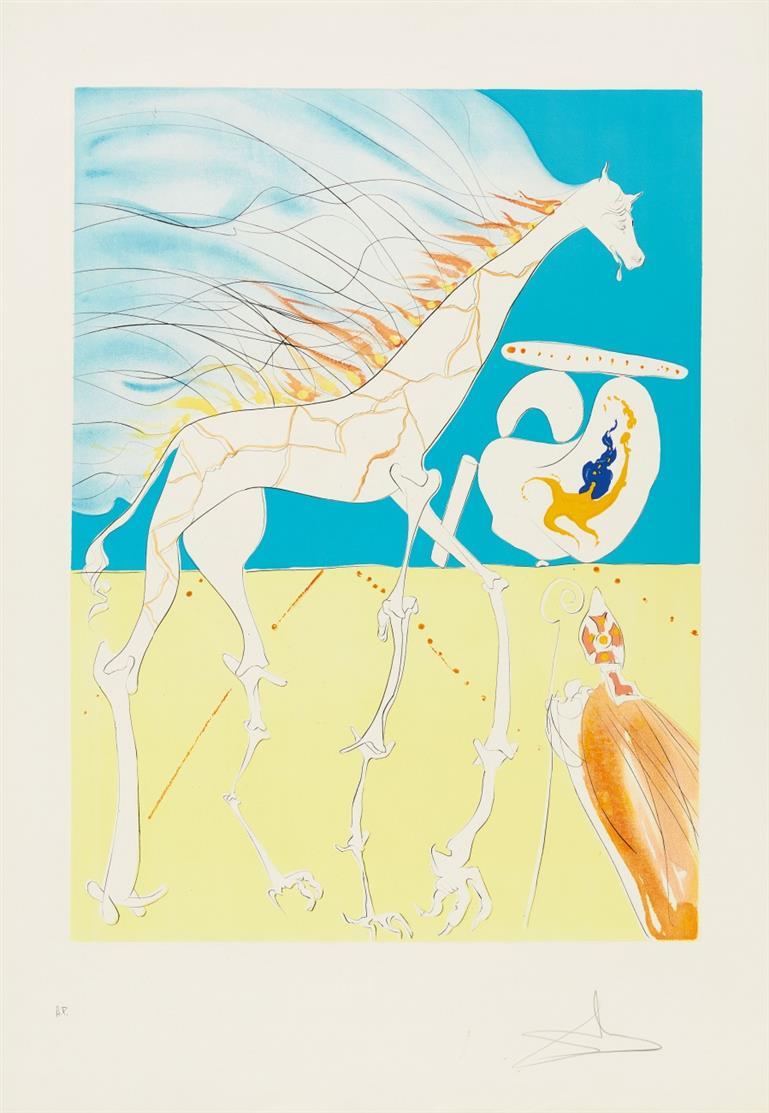 Salvador Dalí. Girafe saturnienne.1974. Radierung, Farblithographie, Prägung. Signiert. Ex. A.P. ML 651; F. 74-12J.