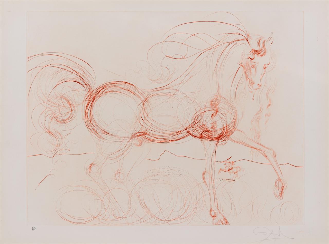 Salvador Dalí. L'Etalon Blanc (Hommage au cheval). 1973/74. Kaltnadelradierung. Signiert. Ex. A.P. ML. 639; F. 74-9.