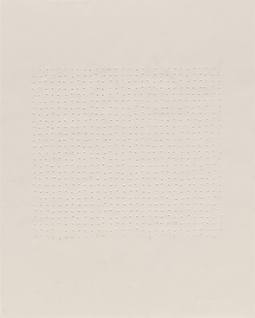 Oskar Holweck. Ohne Titel. 1976. 2 Exemplare. 2 Blatt Stanzdrucke. Jeweils signiert. Ex. 46/75 bzw. 62/75.