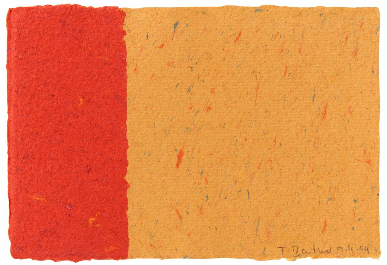 Frank Badur. Ohne Titel. 9.4.94. Collage in Rot und Orange. Signiert.