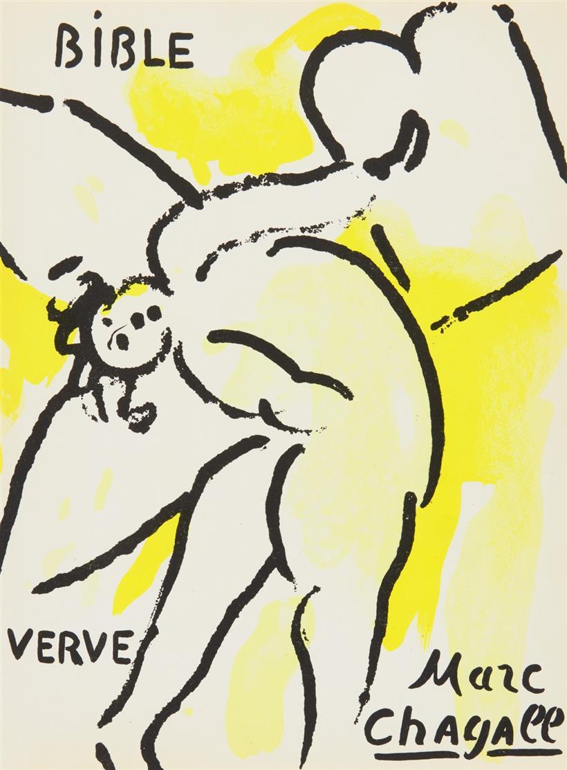Marc Chagall. 6 Bl. aus: La Bible (Verve 33/34). 1956 /2 Bl. aus: Vitraux pour Jérusalem 1962 / 1 Bl. aus: Chagall Lithographe.1963. Zus. 9 Blatt Blatt Farblithographien. Cramer aus 25, aus 49 (2x), 56.