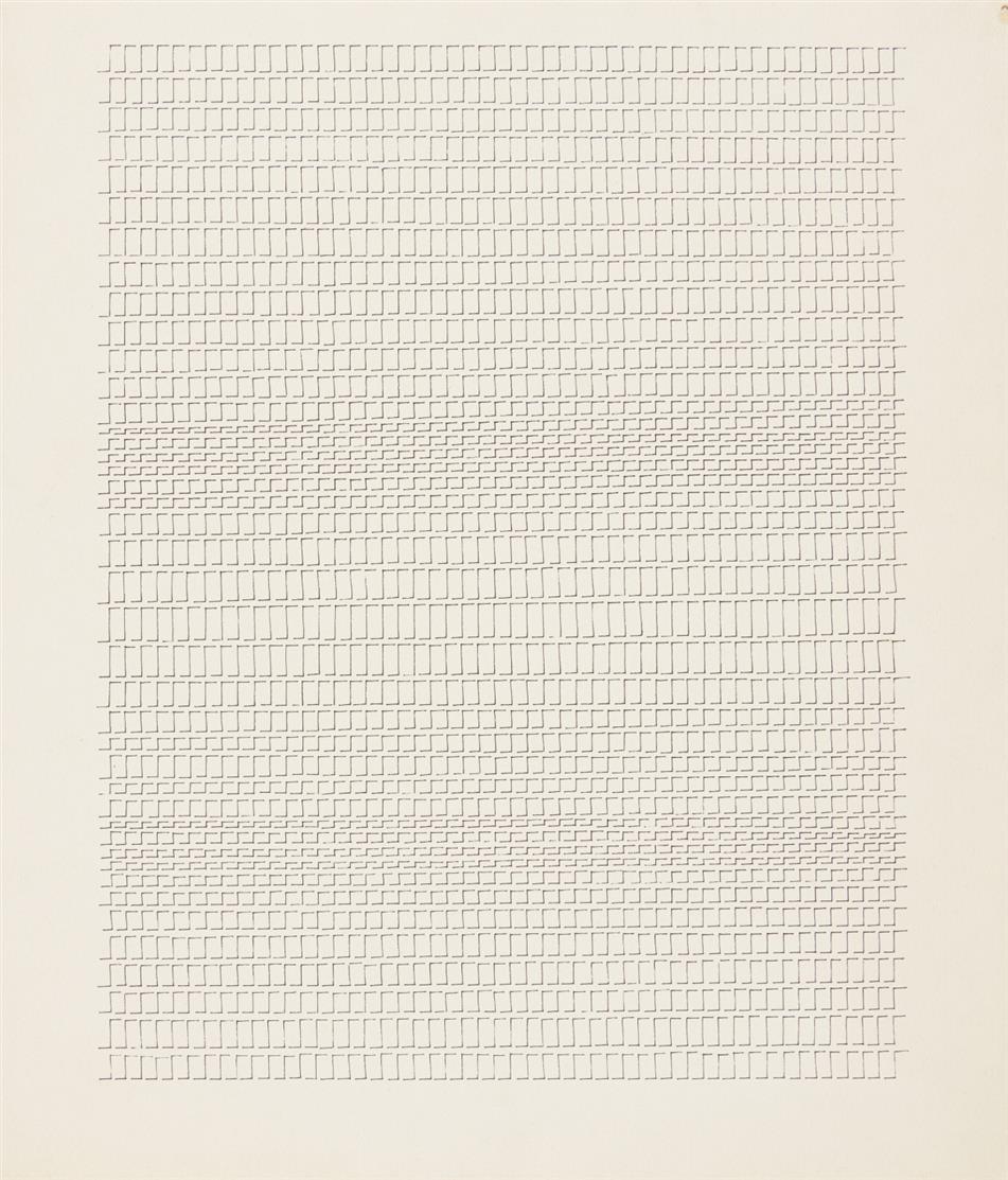 Dadamaino. Alfabeto della Mente Lettera 11. N. 103. 1979. Tinte auf Papier. + Beiliegend: Zertifikat Archivio Dadamaino.