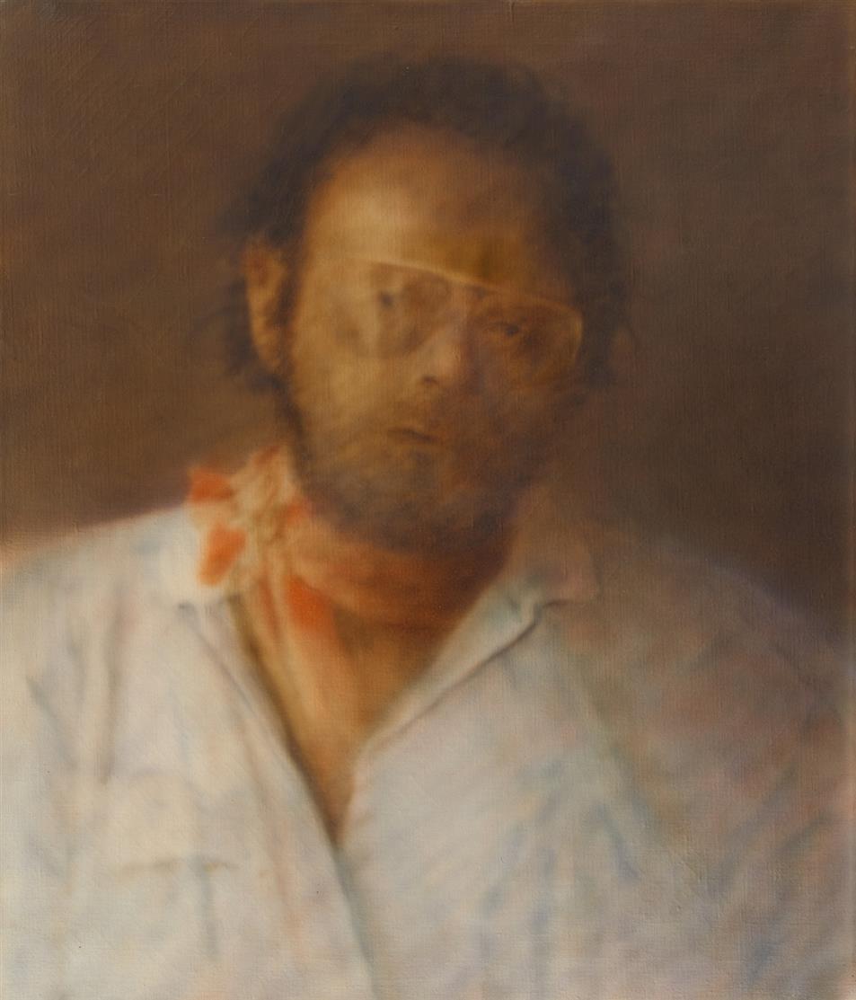 Karolus Lodenkämper. Selbstporträt. Öl auf Leinwand. Rückseitig signiert.