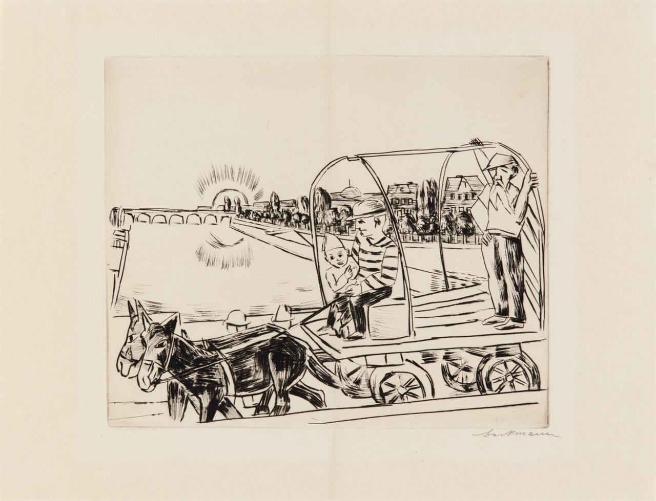 Max Beckmann. Der Morgen. 1923. Kaltnadelradierung. Signiert. Hofmaier  299 B a.