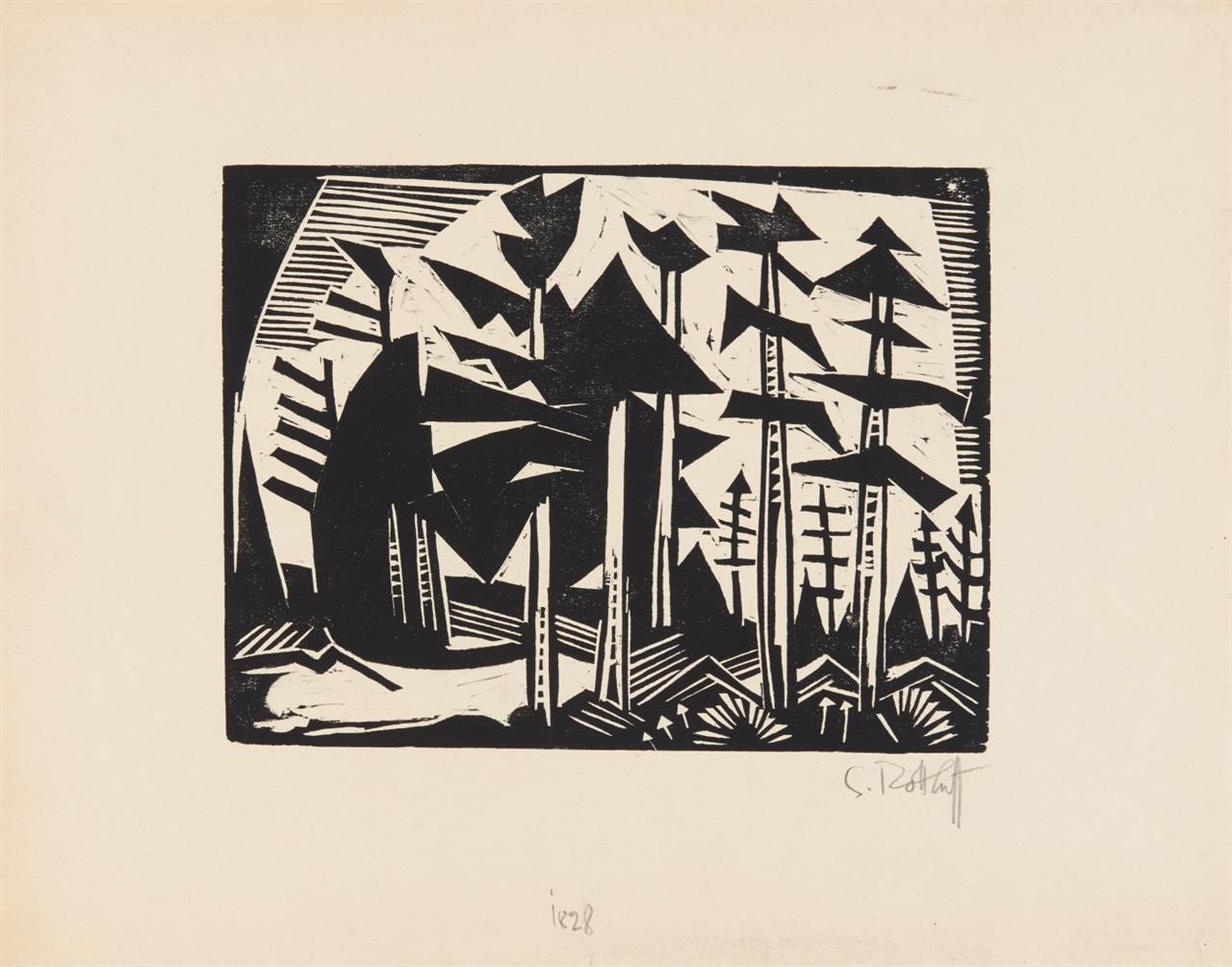 Karl Schmidt-Rottluff. Russischer Wald. 1918. Holzschnitt. Signiert. Schapire 229.