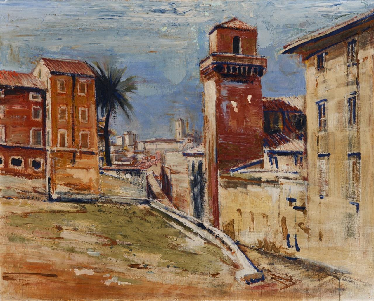 Anton Räderscheidt. Torre dei Borgia, Rom. 1933. Öl auf Leinwand. Signiert.