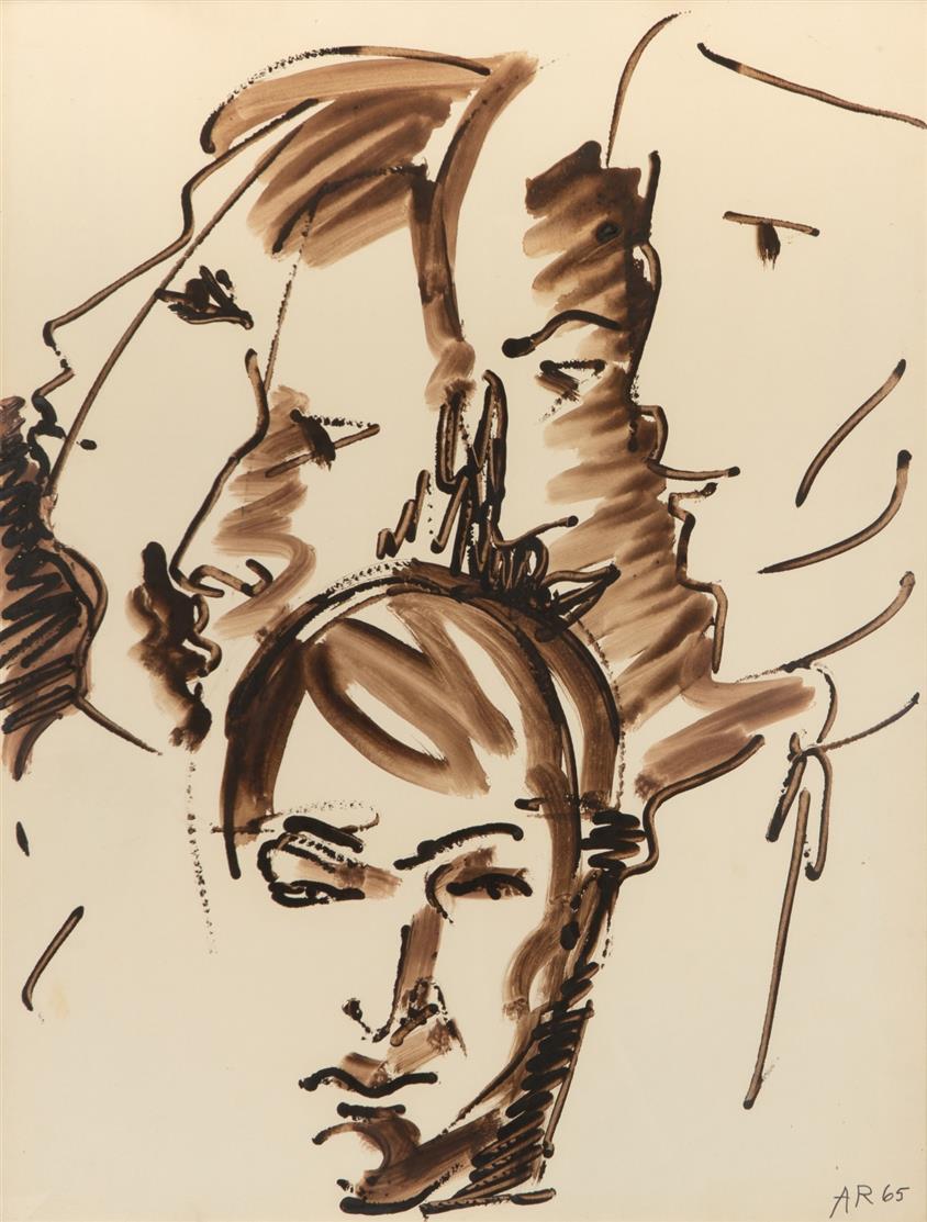 Anton Räderscheidt. Ohne Titel. 1965. Gouache. Monogrammiert.