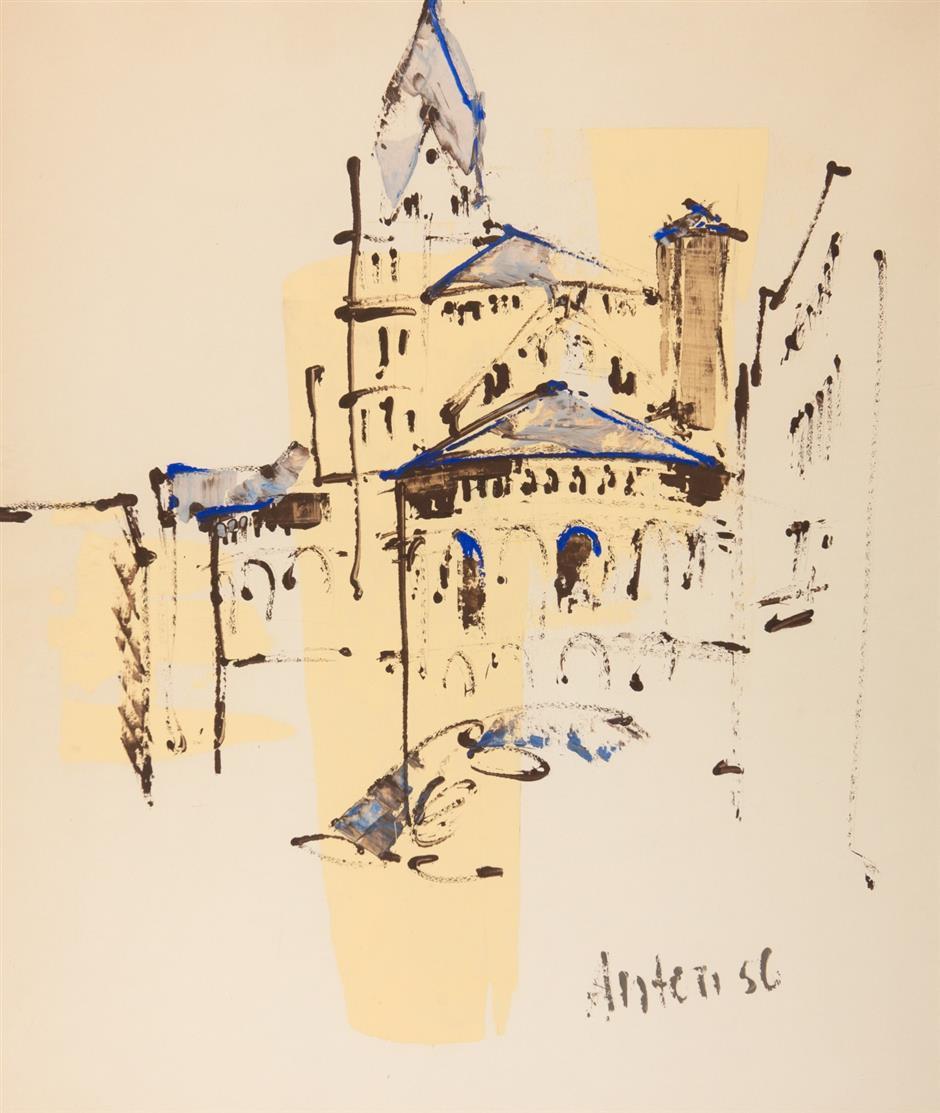 Anton Räderscheidt. Köln, St. Aposteln. 1956. Gouache. Signiert.
