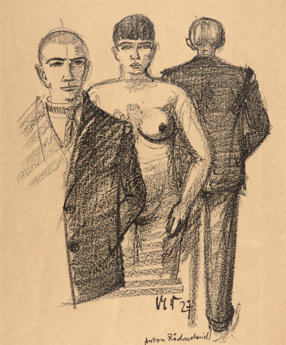 Anton Räderscheidt. Ohne Titel (Selbst mit Martha Hegemann). 1927. Lithographie. + Dazu: Ohne Titel. Lichtdruck. Ex. 28/85. Signiert von Gisèle Räderscheidt.