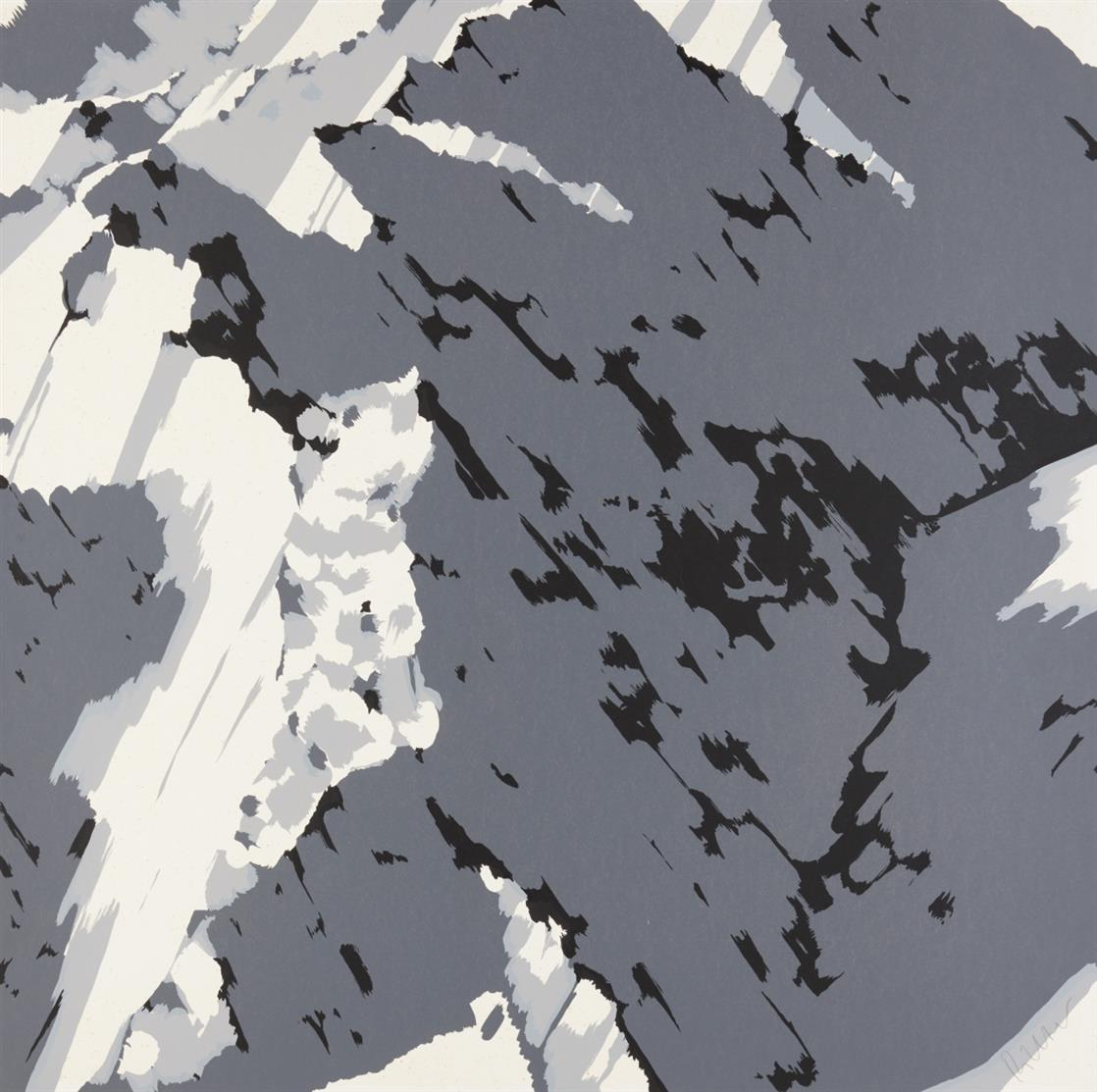 Gerhard Richter. Schweizer Alpen A1 (aus: Schweizer Alpen II). 1969. Siebdruck in Schwarz und zwei Grautönen. Signiert. Butin aus 21.