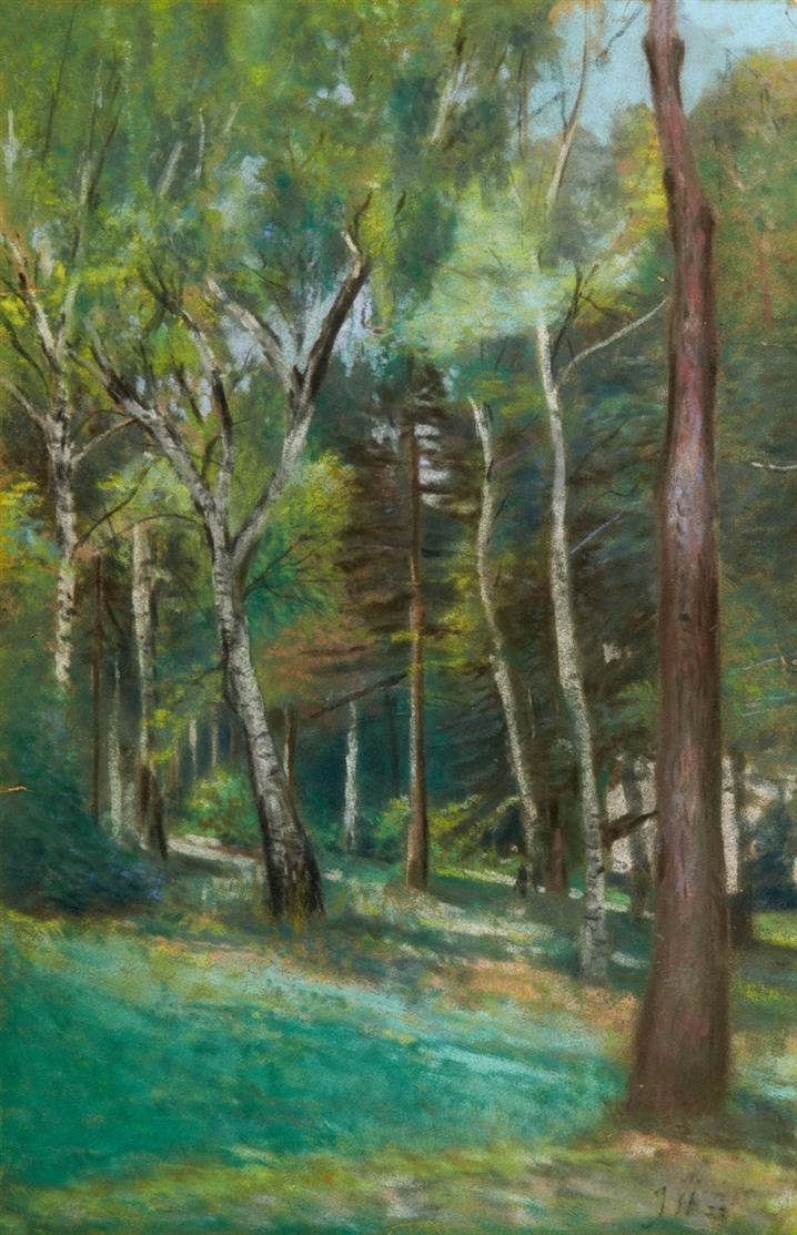 Jacob Steinhardt. Ohne Titel (Waldlichtung). 1933. Pastell. Monogrammiert.