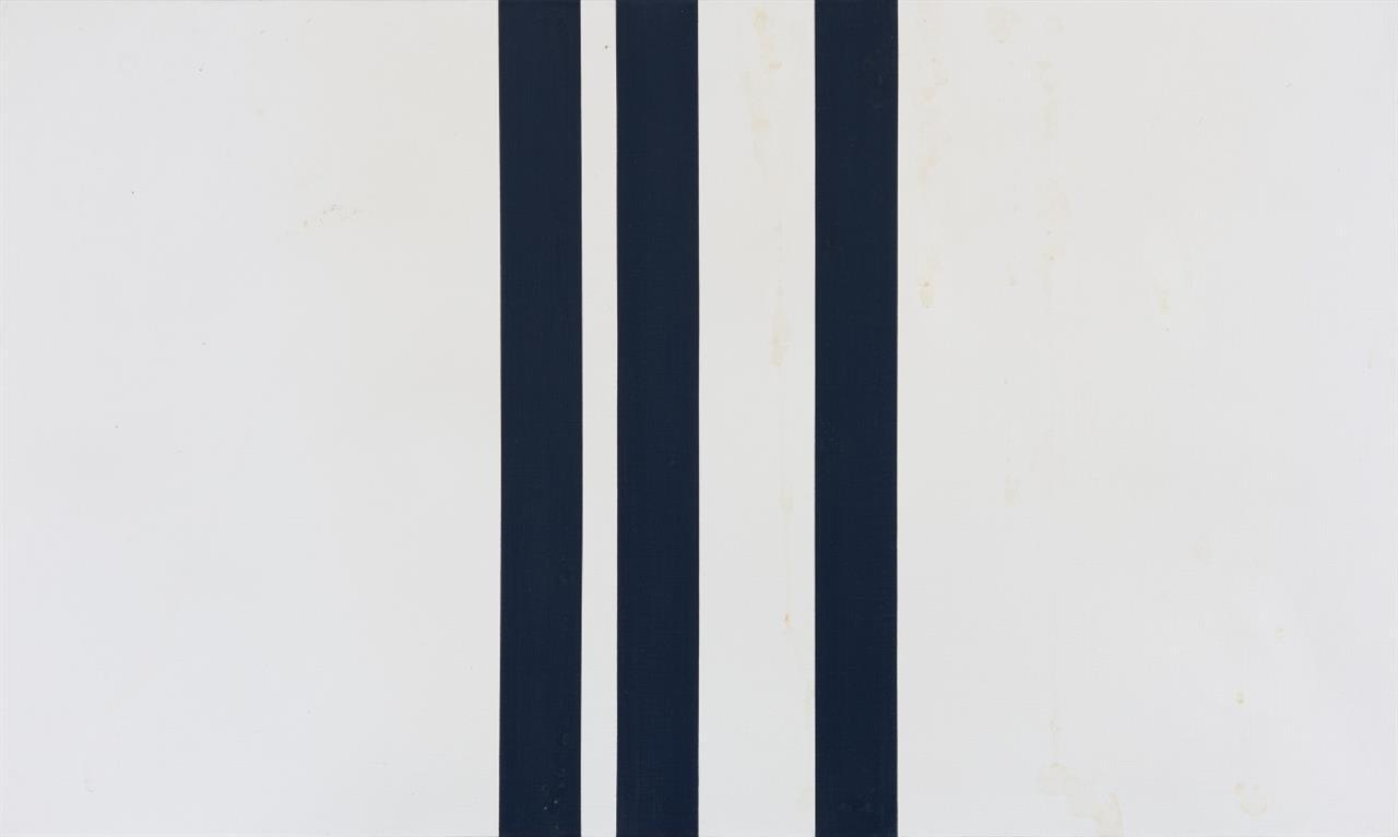 Andreas Brandt. Schwarz. 1978. Öl auf Leinwand. Verso signiert. (Fleckig).