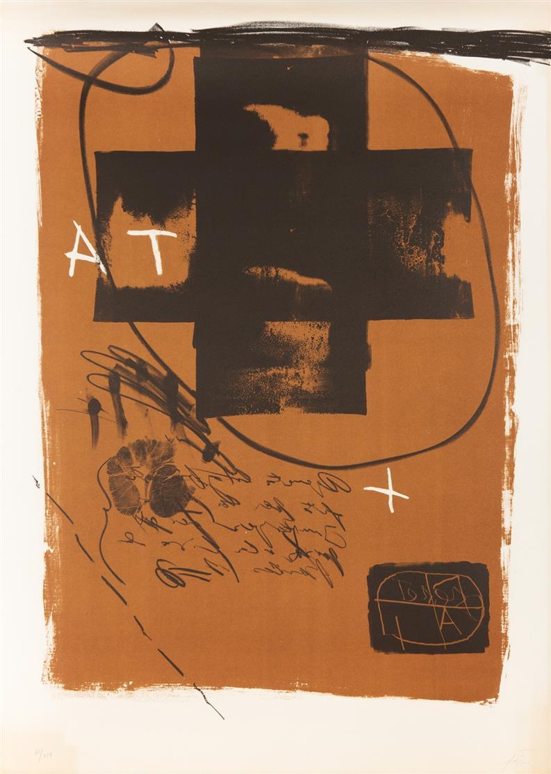 Antoni Tàpies. Art 6' 75. 1975. Farblithographie. Signiert. Ex. 80/150. Galfetti 516.