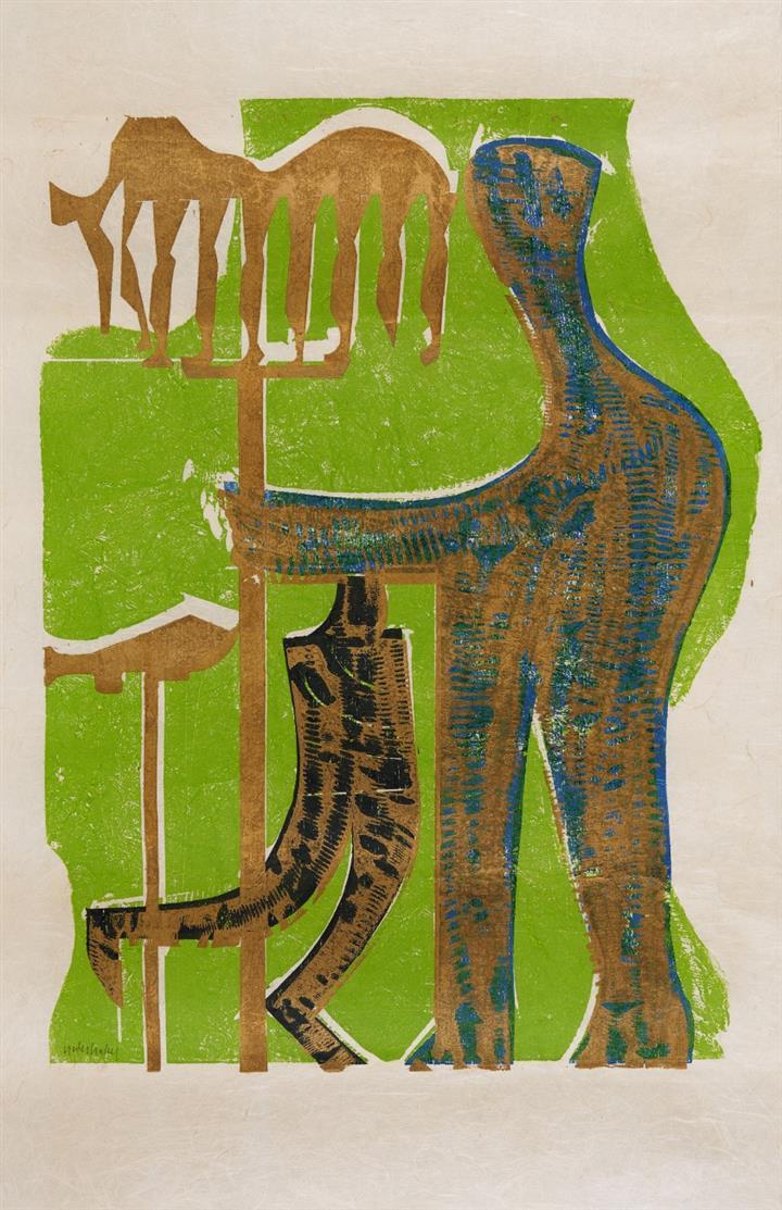 HAP Grieshaber. Olympia III. 1971. Farbholzschnitt. Signiert. Ex. 34/120. Fürst 71/92.