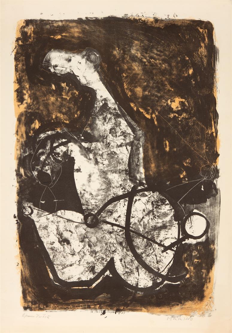 Marino Marini. Il Miracolo. 1965. Farblithographie. Signiert. Ex. Épreuve d'artiste. Guastalla 187.
