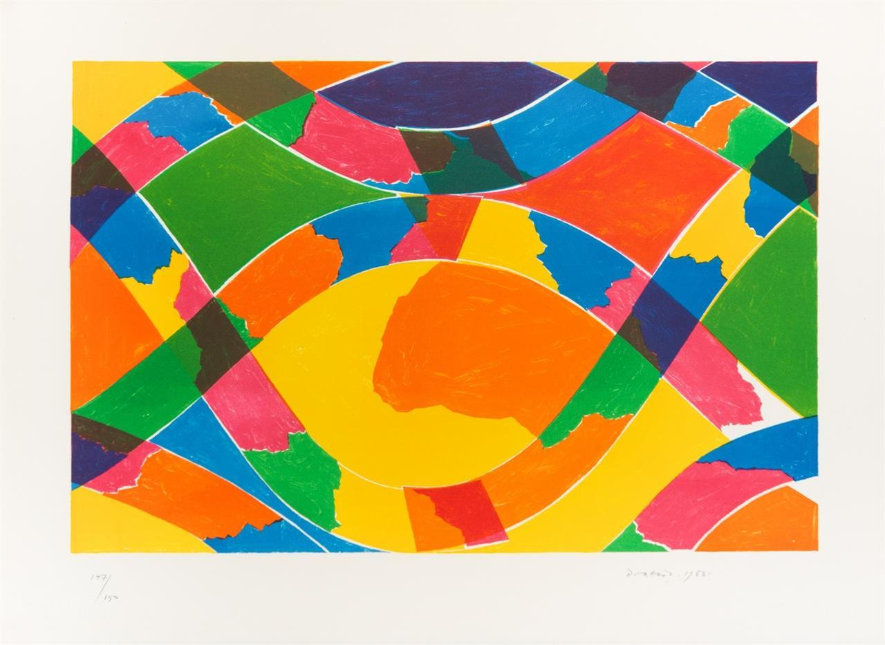 Piero Dorazio. Ohne Titel 1968 / Ohne Titel 1977. 2 Blatt Farblithographien. Signiert. Ex. 10/100 bzw. 147/150.