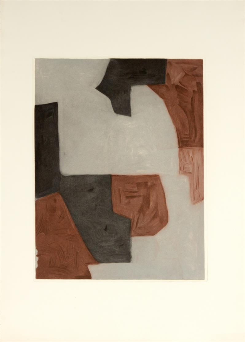 Serge Poliakoff. Komposition in Braun, Grau und Schwarz. 1964. Farbaquatintaradierung. Nicht signiert. Poliakoff/Schneider XVII.