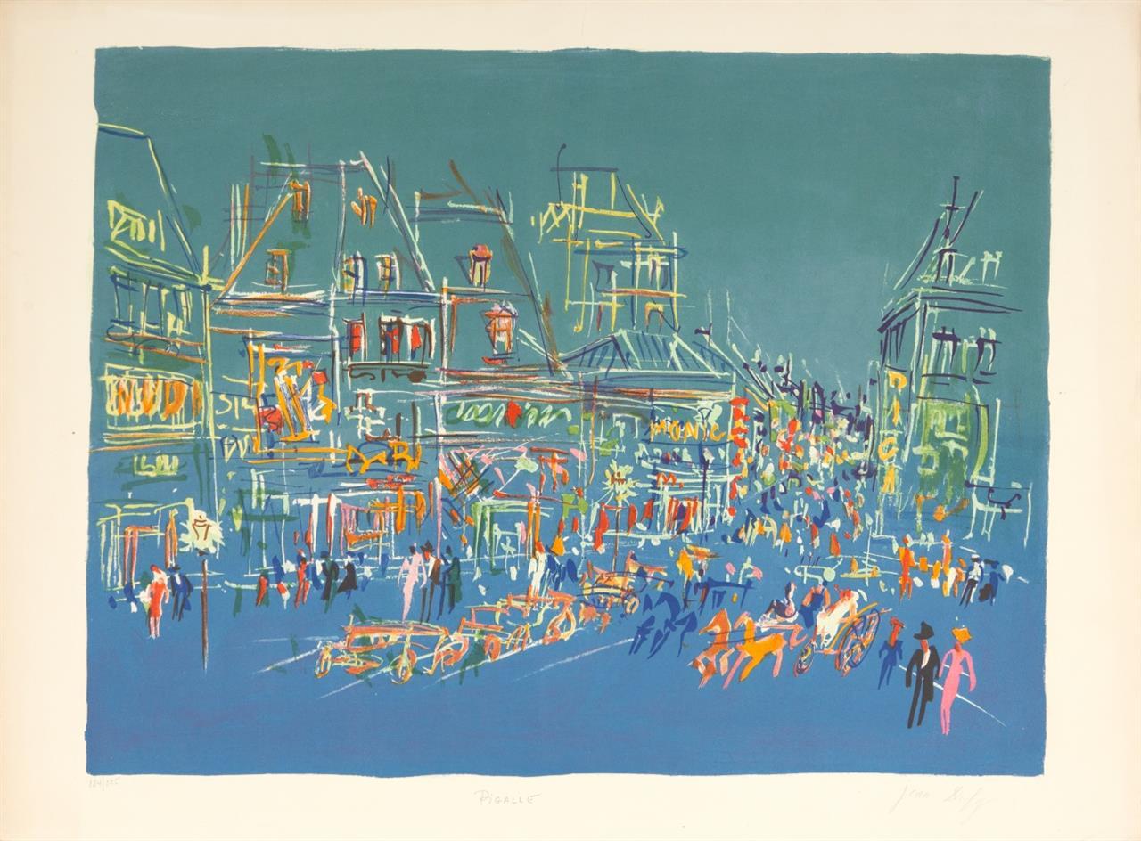 Jean Dufy. Place Pigalle, la Nuit. Farblithographie. Signiert. Ex. 184/225.