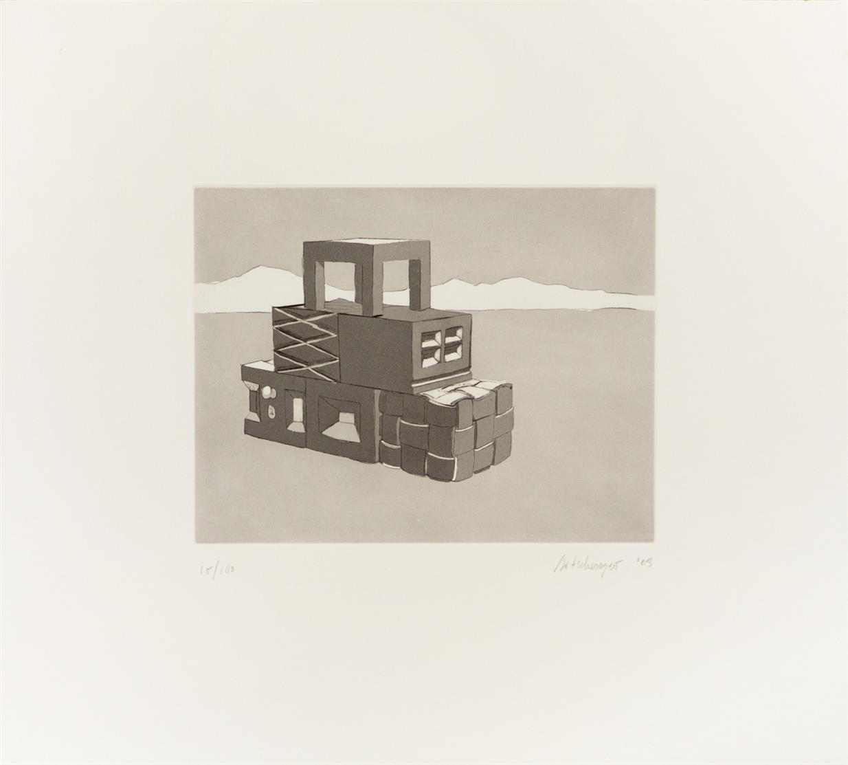 Richard Artschwager. Motiv aus: T.W.M.D.R.B. 2003. Radierung u. Aquatinta. Signiert. Ex. 15/100.
