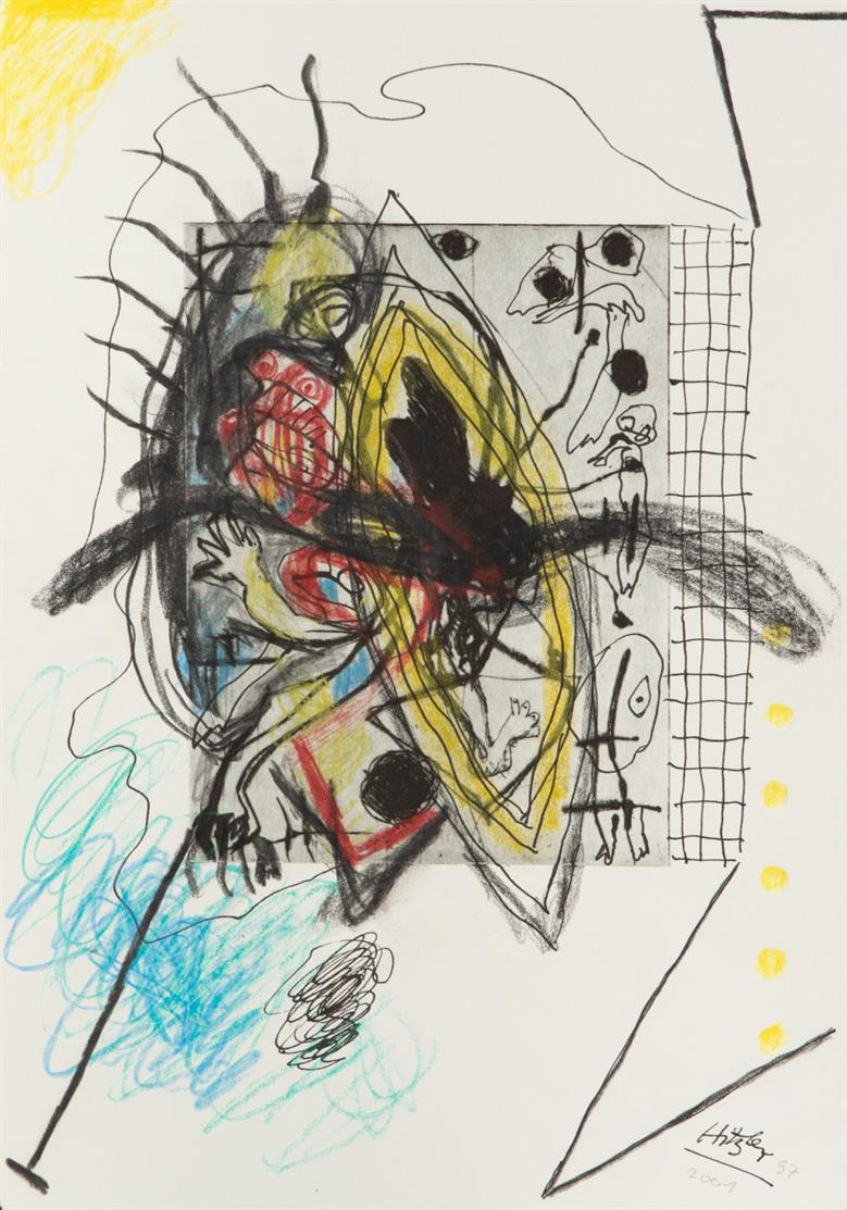 Franz Hitzler. Ohne Titel. 1997-2001. Wachskreide, Bleistift, Tusche und Tinte über Radierung. Signiert