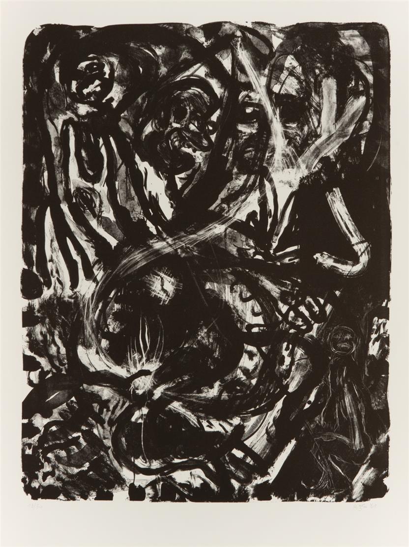 Franz Hitzler. Ohne Titel. 8 Blatt Lithographien, lose in überarbeiteter Mappe. Signiert. Ex. 18/30.