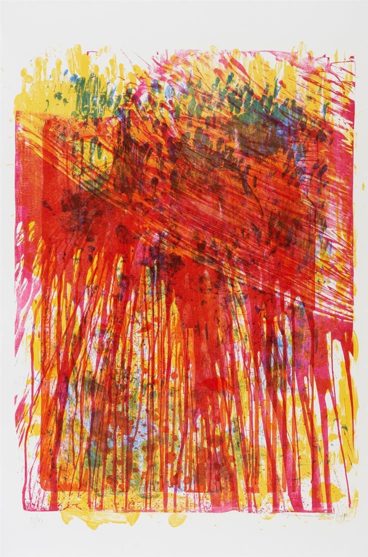 Hermann Nitsch. Ohne Titel (Schüttstein). 1984/1991. Farblithographie. Signiert. Ex. 11/40.