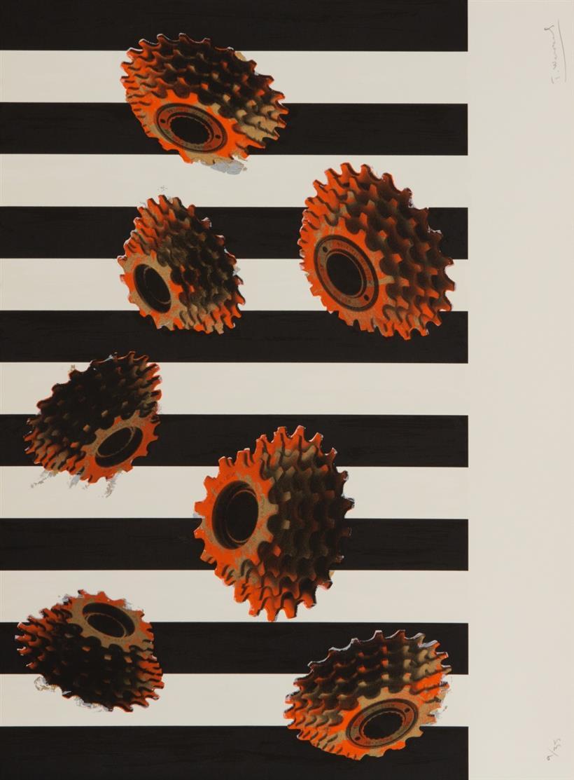 Troels Wörsel. Conversion. 1987. Mappe mit 5 Blatt Farbserigraphien. Signiert. Ex. 9/35.