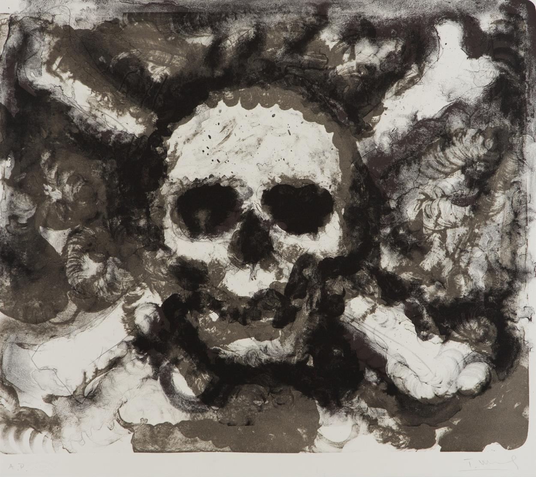 Troels Wörsel. Ohne Titel (Piratenflaggen). 1980er Jahre. 2 Blatt Lithographien. Jeweils signiert. Je Ex. A.P.