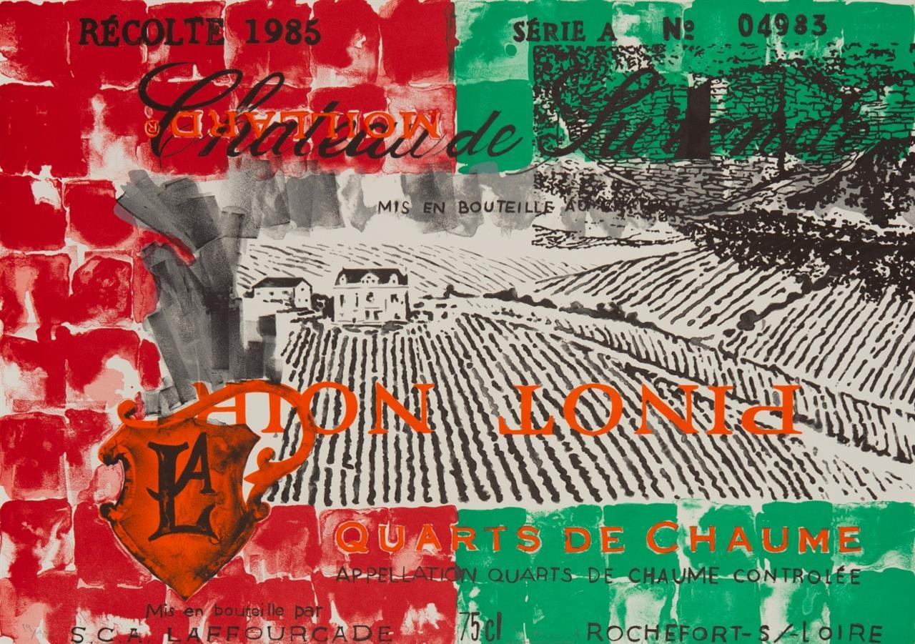 Troels Wörsel. Ohne Titel (Weinetikett). Um 1988. 2 Blatt Lithographien. Signiert. Ex. 19/34.