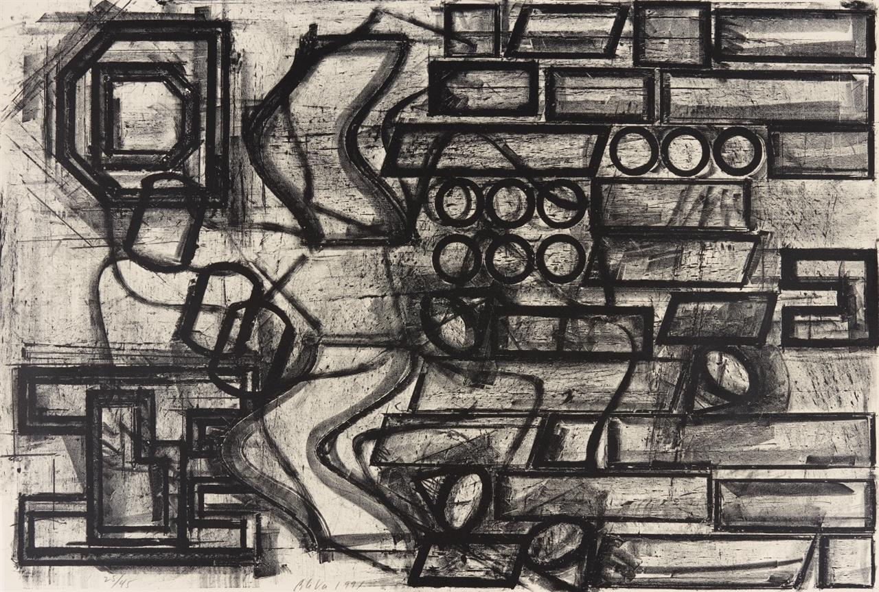 Barry Le Va. Plan View for Floor Sculpture. 1991. Lithographie. Signiert. Ex, 25/45.