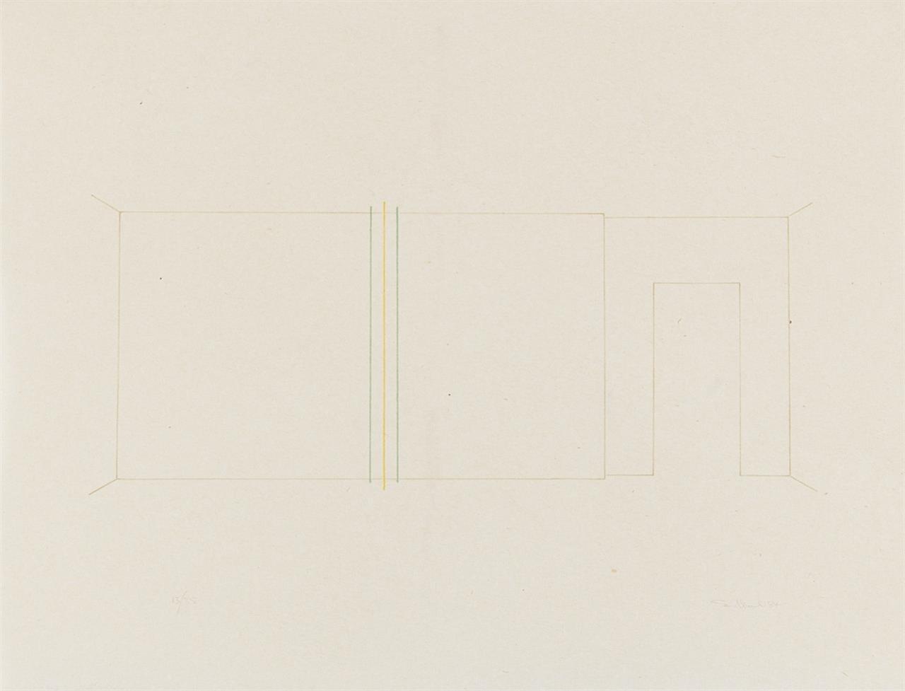 Fred Sandback. Ohne Titel. 1984. Farblithographie auf Japan. Ex. 13/35.