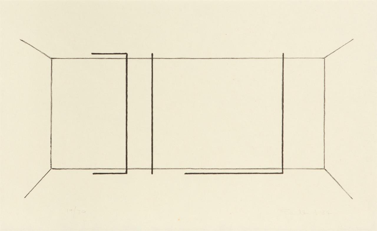 Fred Sandback. Ohne Titel. 1984. Lithographie. Ex. 19/30. Jahn 109.