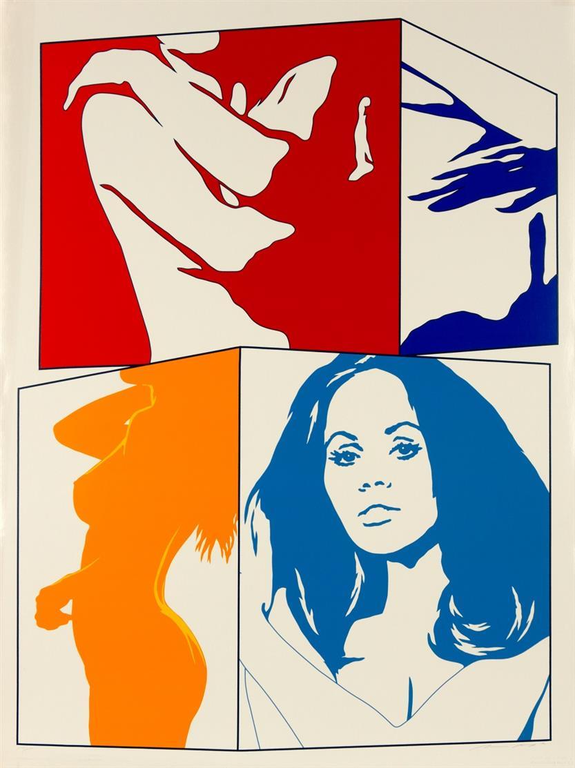 Werner Berges. Eitelkeiten / June-Girl / etc. 1972. 5 Blatt Farbserigraphien. Jeweils signiert. Versch. Auflagen. Gäßler G 1972.9, 1972.13, 1972.16, 1972.17 bzw. 1972.21.
