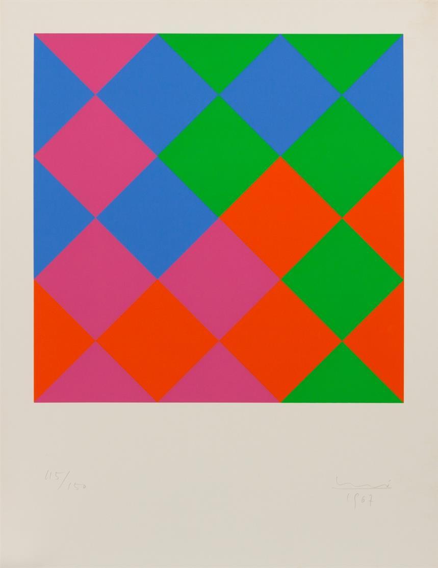 Max Bill. Ohne Titel. 1967. Farbserigraphie. Signiert. Ex. 115/150.