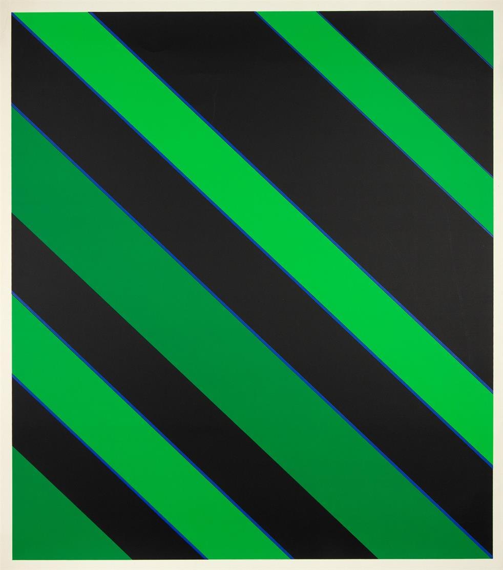 Günter Fruhtrunk. Gestautes Grün / Ohne Titel. 2 Blatt Farbserigraphien. Jeweils signiert. Ex. 89/230 bzw. 54/125.