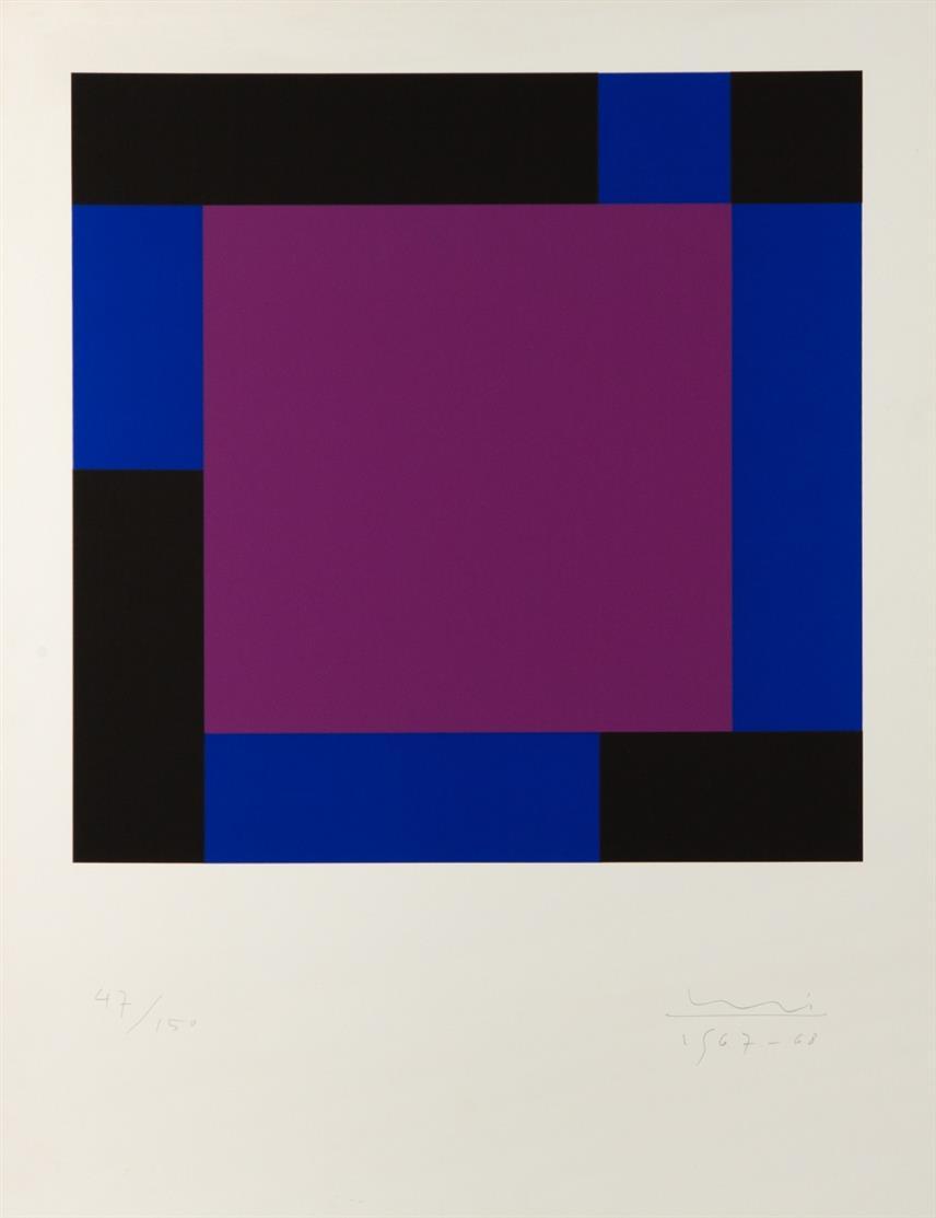 Max Bill. Ohne Titel. 1967-68. Farbserigraphie. Signiert. Ex. 47/150.