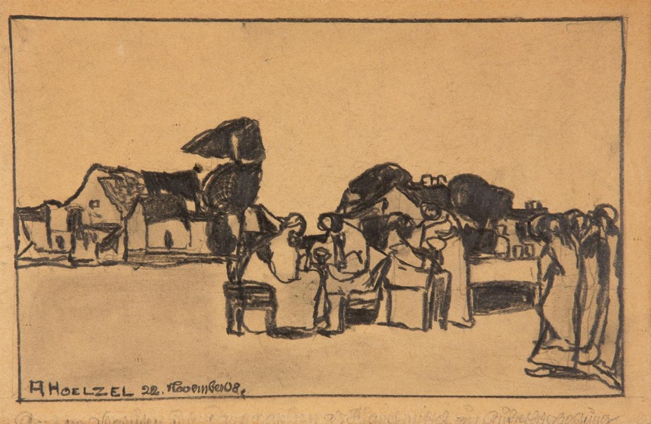 Adolf Hölzel. Ohne Titel (Figurengruppe vor Häusern). 22. Nov. 1908. Graphit. Signiert.