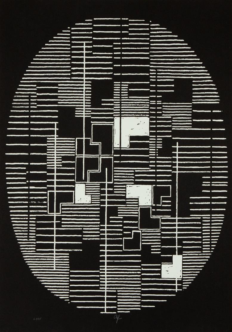 Adolf Richard Fleischmann. Ohne Titel. Serigraphie. Monogrammiert. Ex. 68/95.