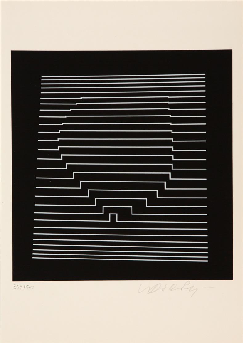 V. Vasarely. Naissances. 2. Aufl. Mit 2 sign. Serigraphien. Köln 1963. Ex. 367/500.